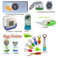 Liquid clock, bottle opener, egg holder