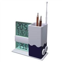 Penholder w/ Calendar Clock & FM Radio