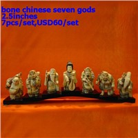 Bone Ivory Chinese Seven Gods Statues  bone netsukes bone carving bone sculpture