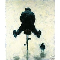 man on bike with spread legs & dog