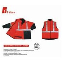 reflective hi-vi 4 in 1 jacket,safety parka