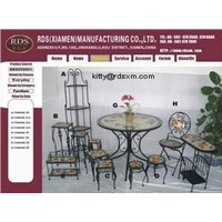 metal furniture and decorations