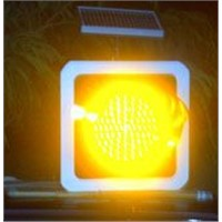 Solar yellow traffic flashing light