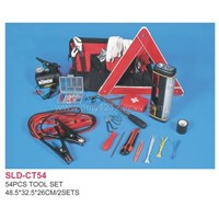 Sell 54pcs Tool Set in Bag-air Compressor,Booster Cable,Triangle Warning Mark,Clamp,Flashlight,Eme
