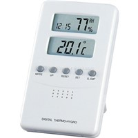 Digital thermometer-hygrometer with alarm clock