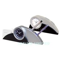 Table clock with pen & name card holder