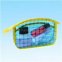 Fashionable Printed Clear PVC Cosmetic Bag, Available in Different Colors