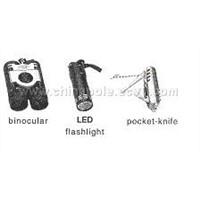 Binocular, LED Flashlight, Pocket Knife