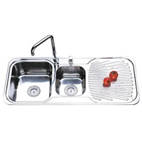 Triple Bowl Stainelss Steel Sink With Drain Board Ol