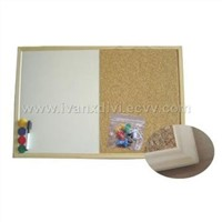 wood framed combination white and cork board