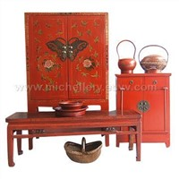 Chinese Antique Furniture-Red Cabinet Set