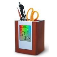 Multifunction Wooden Pen Holder with LED Flashing