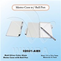 Matt Silver Aluminum Memo Case with Ball Pen