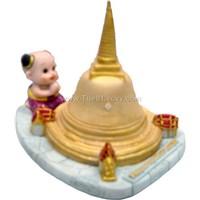 Ceramic doll with pagoda