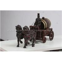 Pair-horse Coach with Oak Wine Barrel