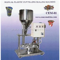 manuel yoghurt milk cup filling sealing machine