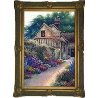 wood art frame with oil painting