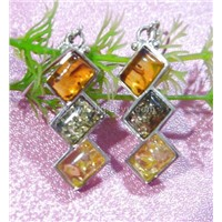 925 silver with natural amber stone