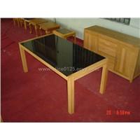 black glass table