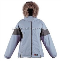 woman ski jacket with fur hood