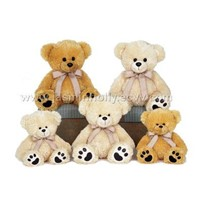 Two Assorted Paw Bears With Ribbon