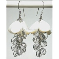 CYPE070036 White Shell Crystal 925 Silver Hook Earrings