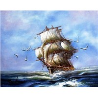 Warship oil painting