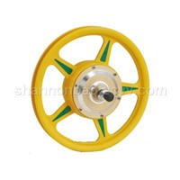 yellow plastic electric bicycle motor