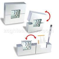 LCD Clock with Name Card Holder