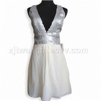 Women's sequin dress with lining, made of georgette silk,silk crepe,habotai