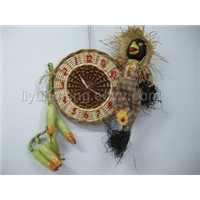 wicker and straw clock