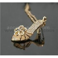 fashion CZ rhine-stone alloy necklace