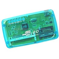 Transparent case USB2.0 All in 1 Cardreader suppo