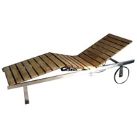 Stainless Steel Teak Sun Bed