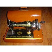 Domestic Sewing Machine + Handle + Woodencase
