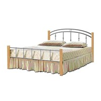 Metal Bed with wooden post