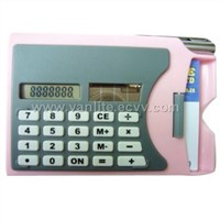 calculator with pen and name card holder