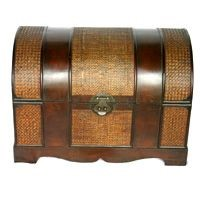 antique wooden large  trunk