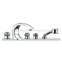 5 holes embedded bath mixer-brass chrome