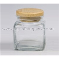 Glass square storage jars
