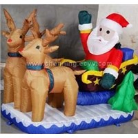 Santa on sleigh with two drawing deer