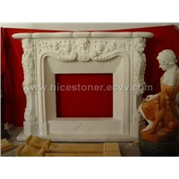fireplace, marble fireplace mantel