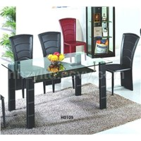 Leather dining table and chair