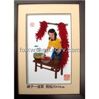 Straw Handicraft Painting - Chili Dish