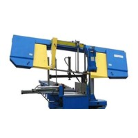 Band sawing machine and line