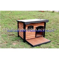 Wooden Dog House pet bed with BALCONY