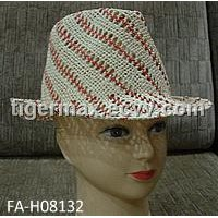 Hand Woven Paper Straw Trilby Hat For Ladies