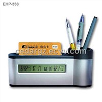 Pen Holder & Card Holder with LCD Calendar Clock