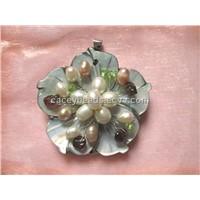 shell pearls garnet  peridot chips wire pendant