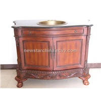 Antique Design Bathroom Cabinets with Marble Vanity Tops and Copper Sinks (Solid Wood)